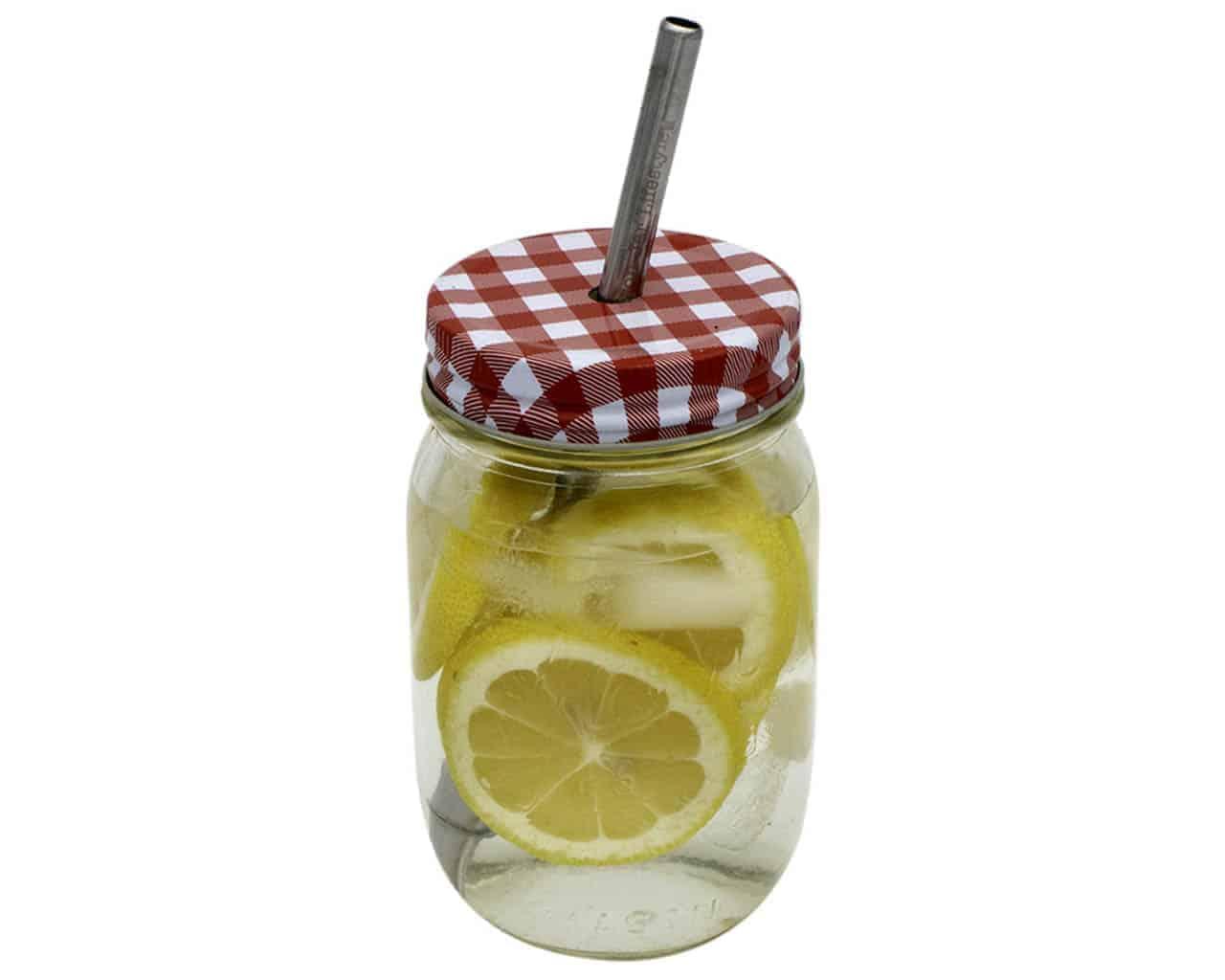 Gingham Straw Hole Tumbler Lids For Mason Jars