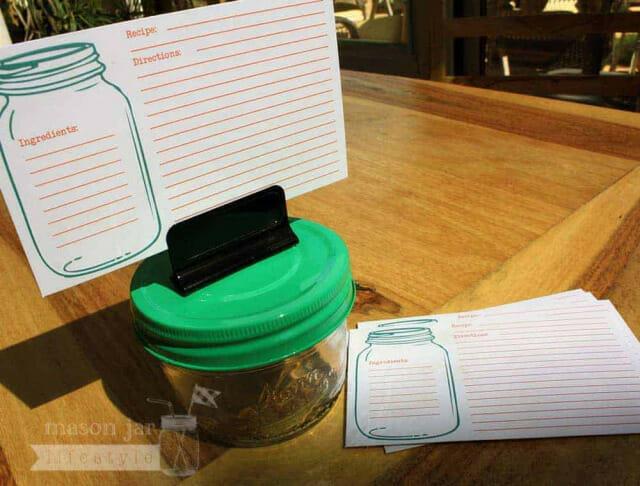 Mason jar recipe cards