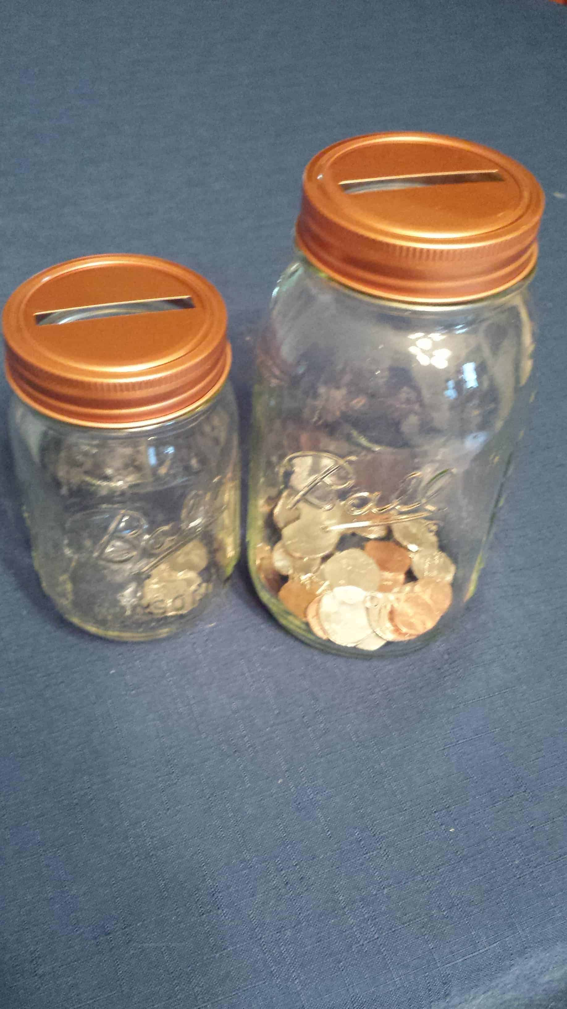 Copper coin slot bank lids and bands for regular mouth for Mason jar piggy bank