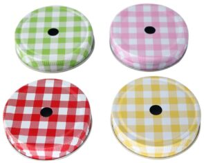 Gingham straw hole tumbler lids for regular mouth Mason jars in green, pink, red, and yellow