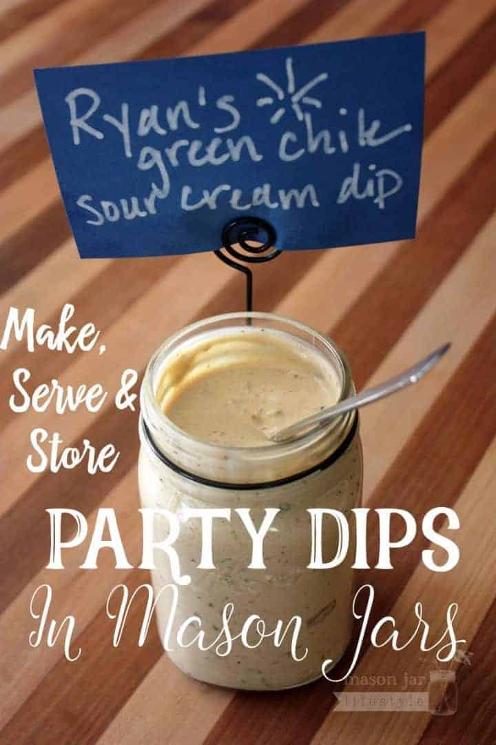 Party dips in Ball Mason jars