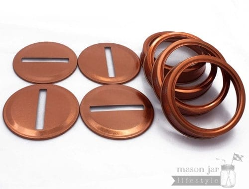Copper coin slot bank lids and bands for regular mouth Mason jars 4 pack