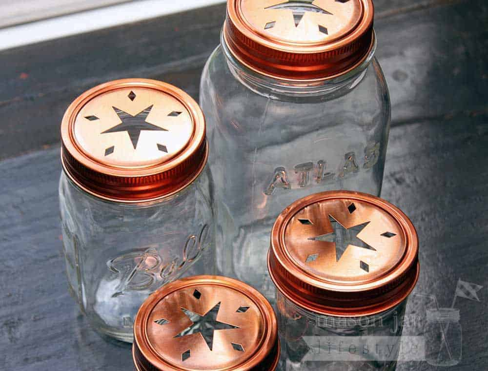 Copper Star Cutout Lids And Bands For Mason Jars 2 Pack