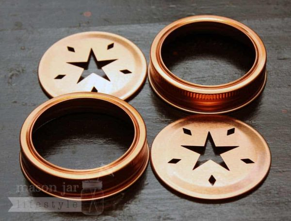 Copper star cutout lids and bands for regular mouth Mason jars 2 pack