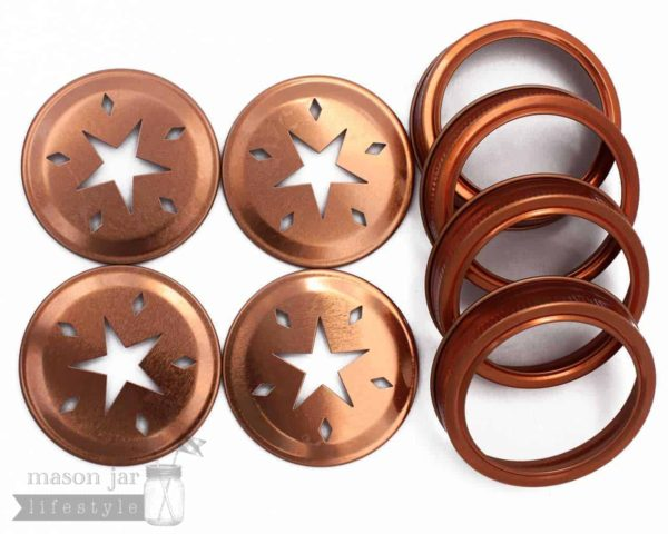 Copper star cutout lids and bands for regular mouth Mason jars 4 pack