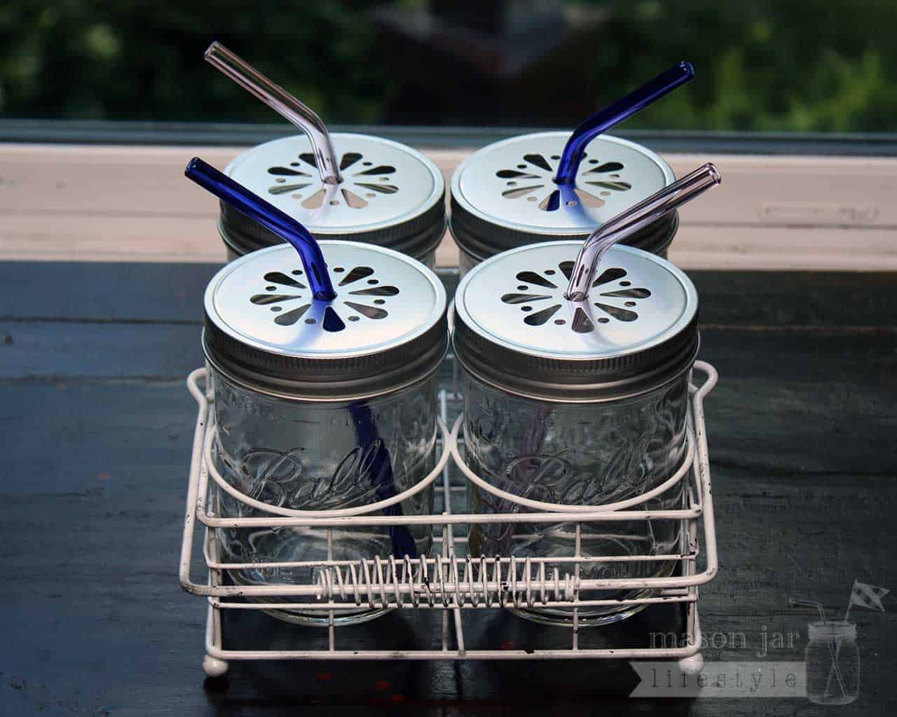 Shiny Silver Daisy Straw Hole Lids For Wide Mouth Mason Jars