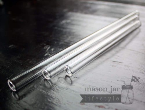 Thick glass smoothie straws in 3 lengths for half pint, pint, and quart Mason jars
