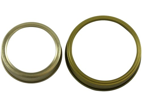 Gold bands rings for regular and wide mouth Mason jars