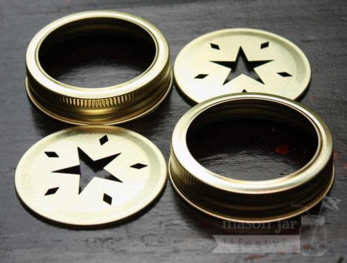 Gold star cutout lids and bands for regular mouth Mason jars 2 pack
