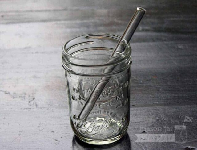 Thick glass smoothie straw in half pint Ball Mason jar