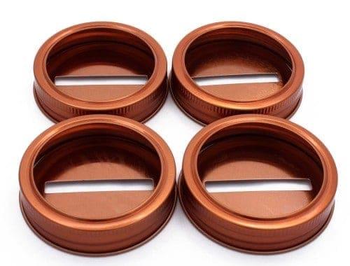 Copper coin slot bank lids for regular mouth Mason jars 4 pack
