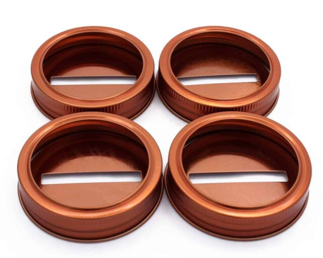 Copper coin slot bank lids for regular mouth Mason jars 4 pack