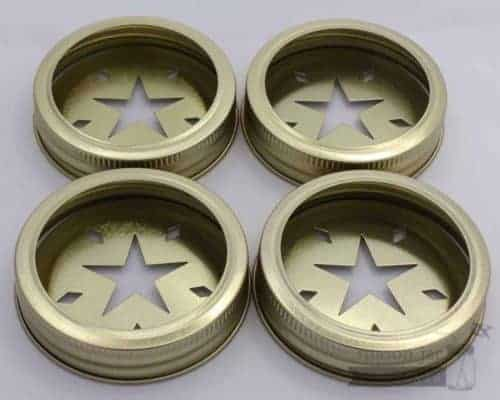 Gold star cutout lids and bands for regular mouth Mason jars 4 pack