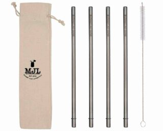 Mason Jar Lifestyle Long safer stainless steel metal straws for quart 32oz Mason jars, large cups, and tall glasses