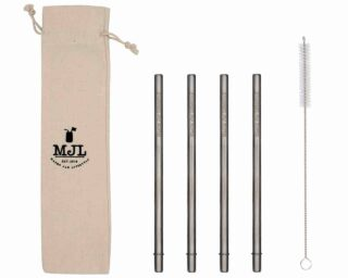 Mason Jar Lifestyle Medium safer stainless steel metal straws for pint 16oz Mason jars, pint glasses, and other medium cups