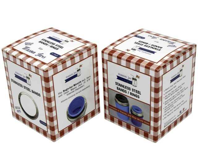 Mason Jar Lifestyle Rust proof stainless steel bands / rings with stamped logo for regular mouth Mason jars retail boxes