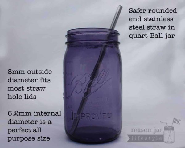Safer rounded end stainless steel metal straws for quart Mason jars with information text