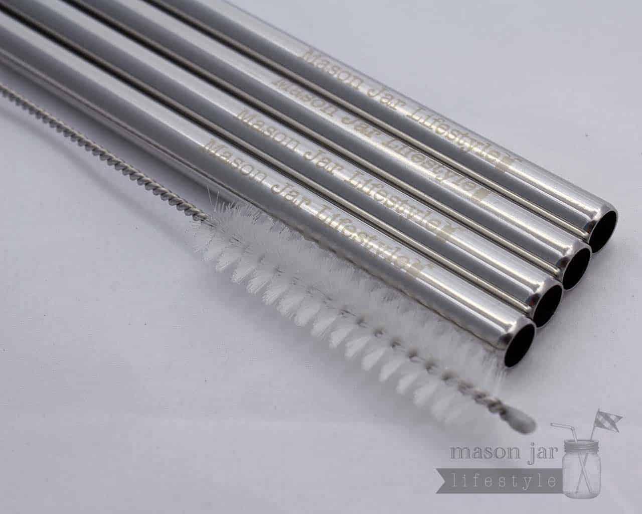 Short Safer Stainless Steel Straws for Half Pint Mason Jars