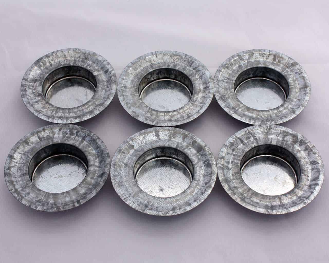 tea light votive candle holder galvanized metal insert for regular mouth mason jars 6 pack