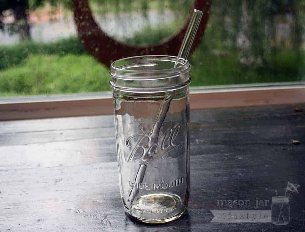 thick glass smoothie straw in pint u0026 half mason jar - Mason Jar Glasses