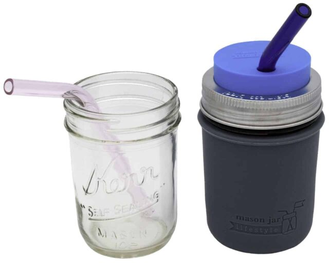 short-pink-blue-glass-straws-half-pint-8oz-ball-kerr-mason-jars-9mm