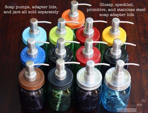 13 colors and styles of Mason jar soap pump adapter lids with stainless steel pumps on Ball jars