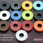 13 colors and styles of Mason jar soap pump adapter lids