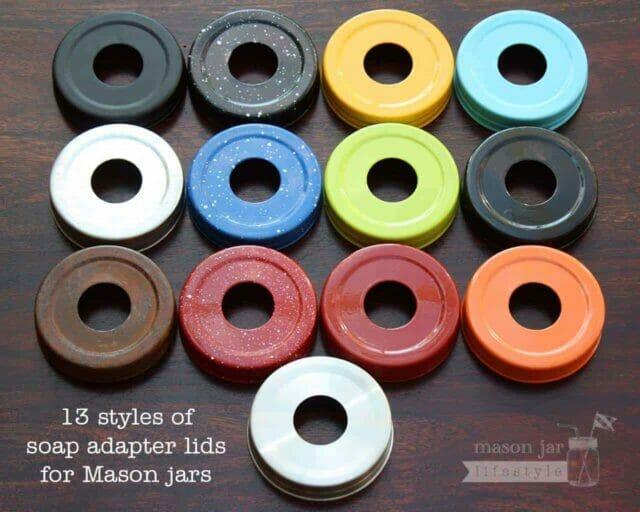 13 colors and styles of Mason jar soap pump adapter lids