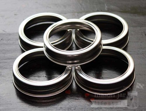 Stainless Steel rust proof bands / rings for regular mouth Mason jars 5 pack