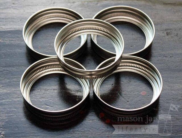 Stainless Steel rust proof bands / rings for regular mouth Mason jars 5 pack bottoms