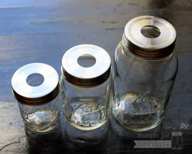 Stainless steel rustproof soap pump dispenser lid adapters on three sizes of regular mouth Ball Mason jars top