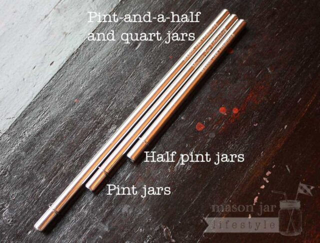 Stainless steel straws with rounded ends in three lengths for half pint, pint, and quart Mason jars