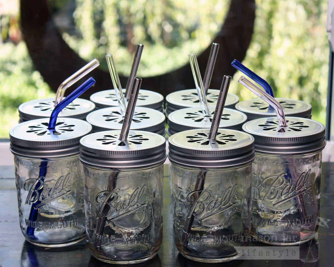 Shiny silver daisy straw hole lids for wide mouth mason jars