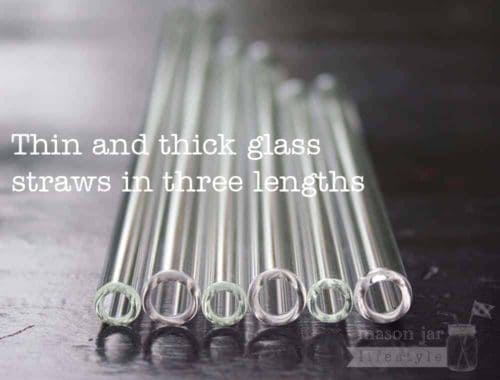 Thin and thick glass straws in three lengths for half pint, pint, and quart Mason jars