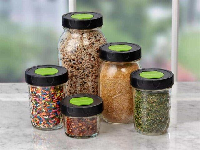Ball herb shaker lids on 5 regular mouth Mason jars