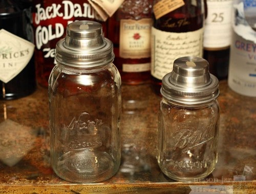 Mason Jar Lifestyle cocktail shaker lid cap on Kerr quart jar and Ball pint jar