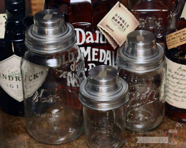 No leaks! Mason jar cocktail shaker lids on 3 sizes of jars
