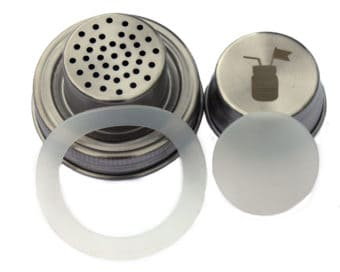 Stainless steel cocktail shaker with silicone seals for regular mouth Mason jars