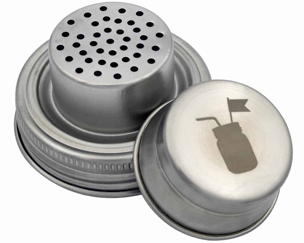 Mason Jar Lifestyle silver cocktail shaker with 2 silicone seals. Leak proof and rust proof.
