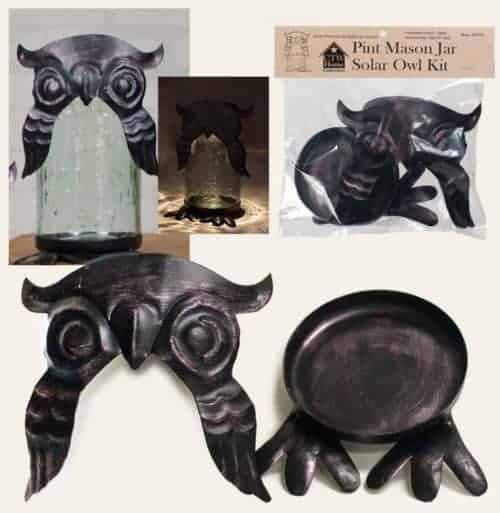 Pint Mason jar solar owl kit