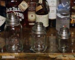 Mason jar cocktail shaker lids on Kerr, Ball, Orchard Road jars