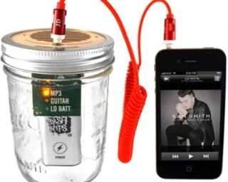 Trash Amp Mason jar speaker for iPod, MP3 player, or guitar