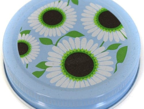 Orchard Road daisy patterned lids / caps for regular mouth Mason jars