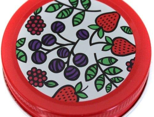 Orchard Road fruit patterned lids / caps for regular mouth Mason jars