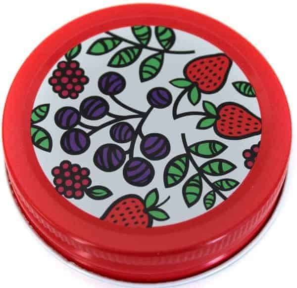 Orchard Road fruit patterned lids / caps for regular mouth Mason jars