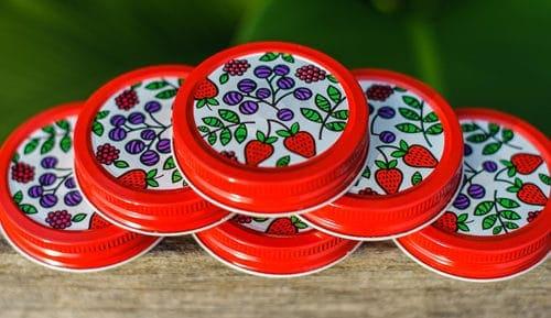 Orchard Road fruit patterned lids / caps for regular mouth Mason jars 6 pack