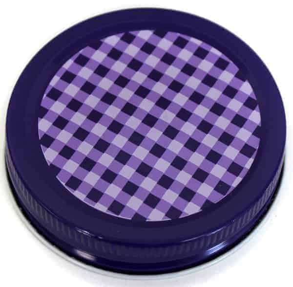 Orchard Road purple gingham lids / caps for regular mouth Mason jars