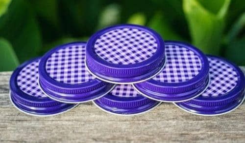 Orchard Road purple gingham lids / caps for regular mouth Mason jars 6 pack