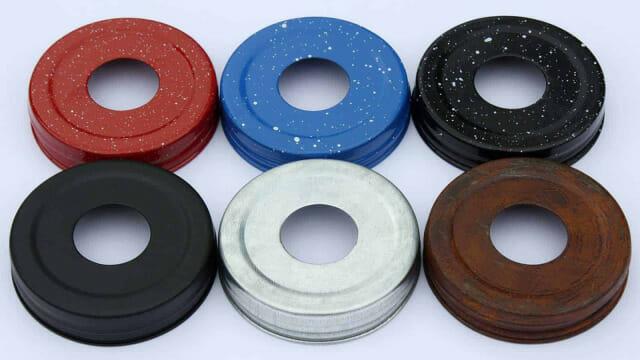 Speckled and primitive Mason jar soap dispenser lid adapters