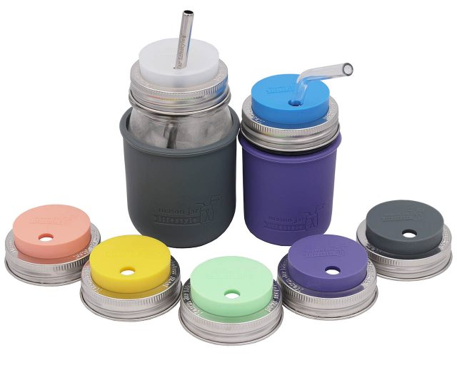 Silicone Fermentation and Straw Hole Tumbler Lids for Regular Mouth Mason Jars